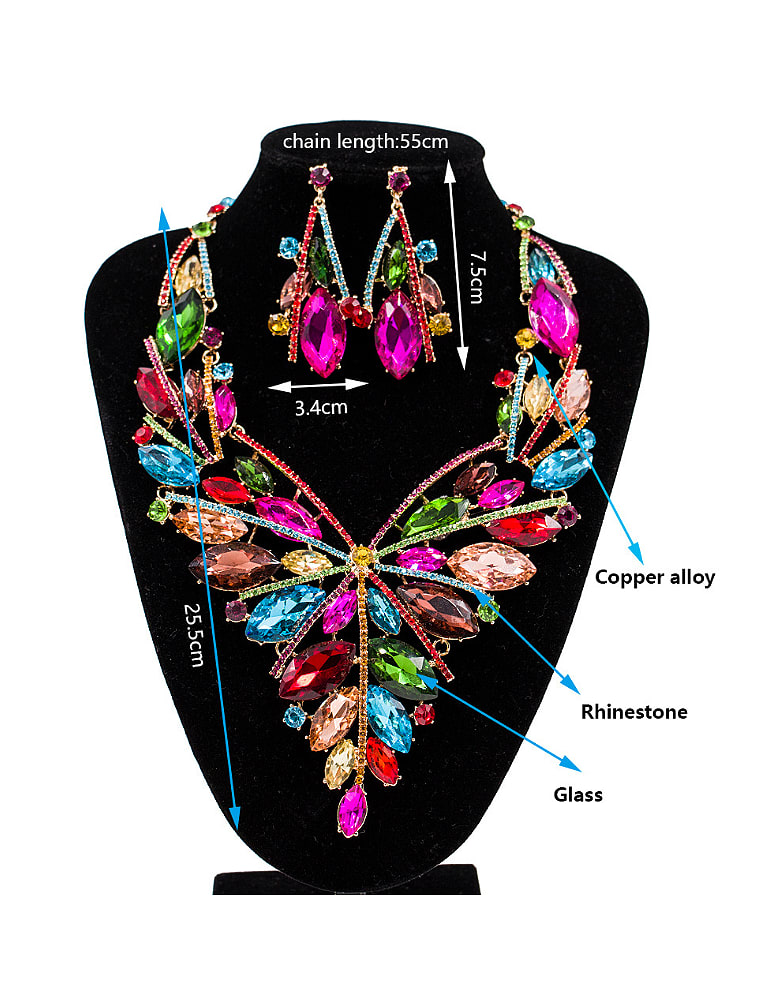 2018 Exaggerated Oval Glass Rhinestones Two Pieces Jewelry Set