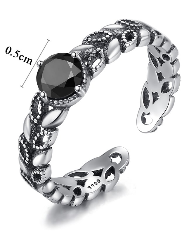 Sterling silver zircon retro leaves free size ring