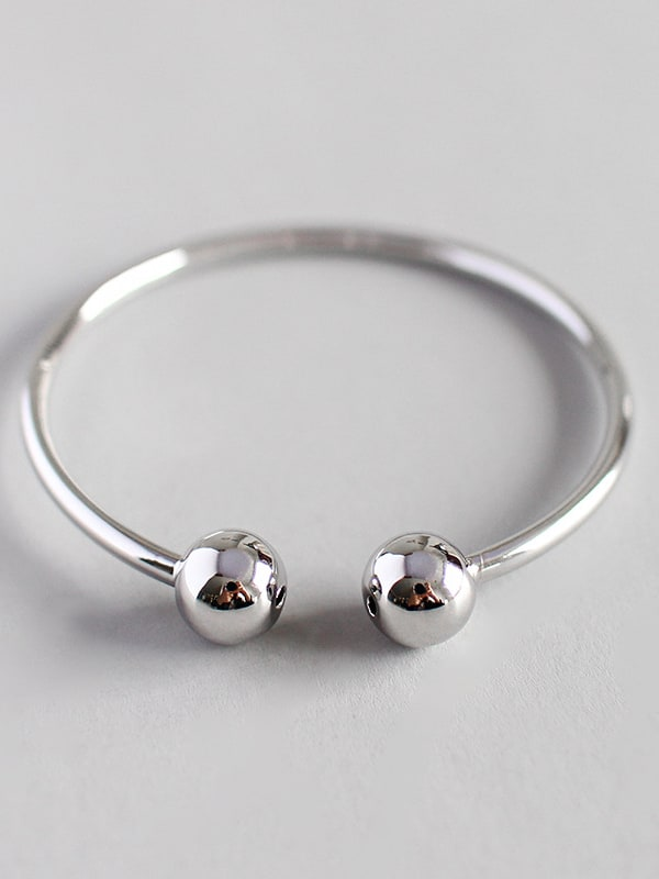 Simple geometric Pure Silver Ball Bracelet