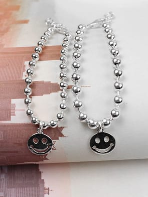 Simple Little Smiling Face Beads Silver Bracelet