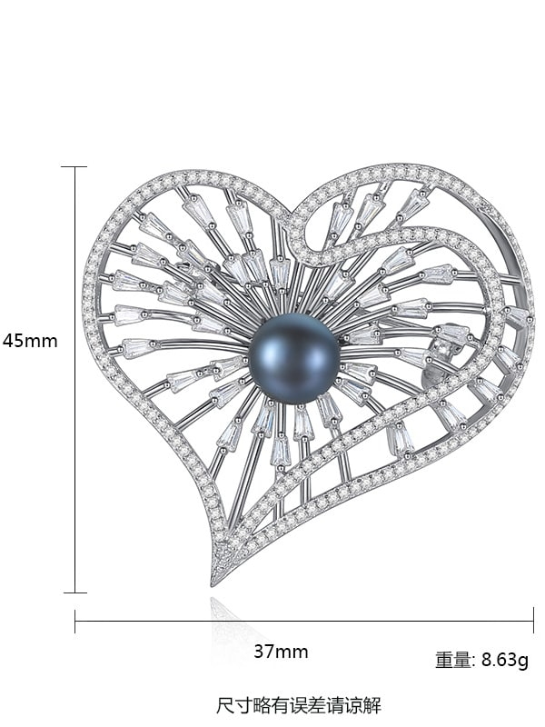 Sterling Silver 8-8.5mm natural pearl shining zircon heart type Brooch