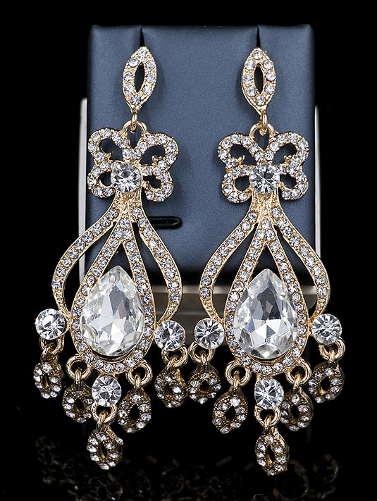 Water Drop Glass Rhinestones Two Pieces Jewelry Set