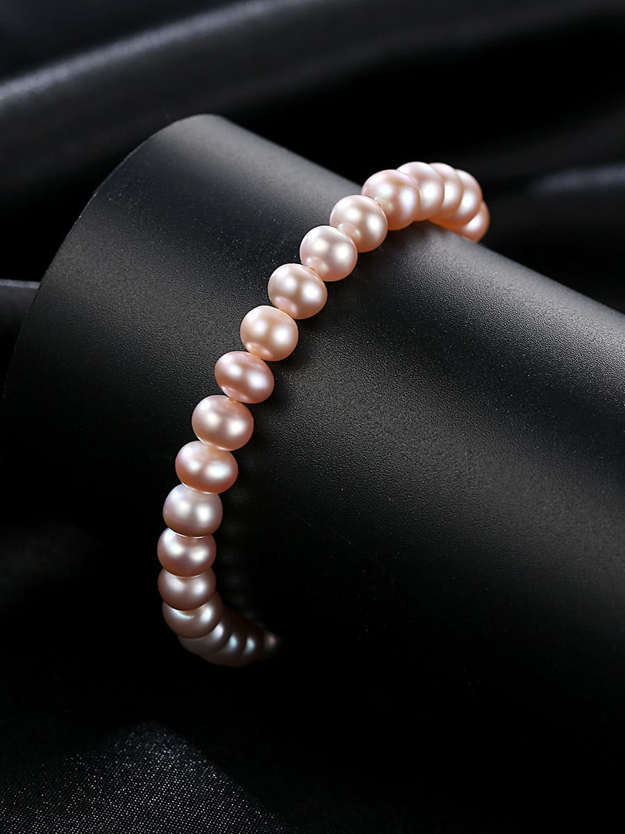 Sterling Silver 6-6.5mm oblate Lavender freshwater pearl bracelet