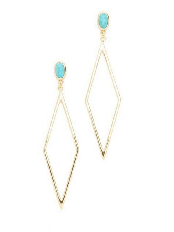 Model No 1000004355 Personalized Gold Plated Zinc Alloy Gold Geometric Drop drop Earring
