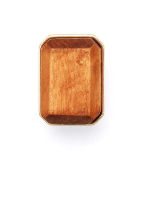 Brown Square Band band ring with Gold Plated Wood