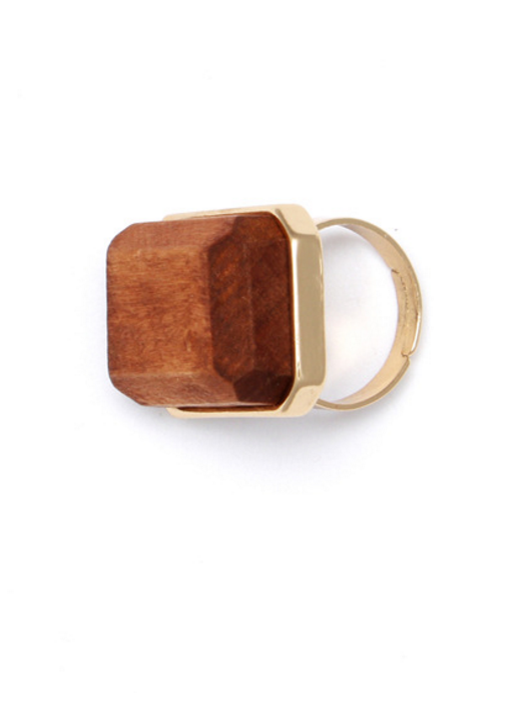 Brown Square Band Ring with Gold Plated Wood