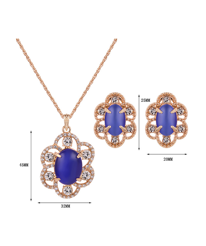 flower alloy stones two product jewelry imitation set plated gold pieces shaped fashion artificial