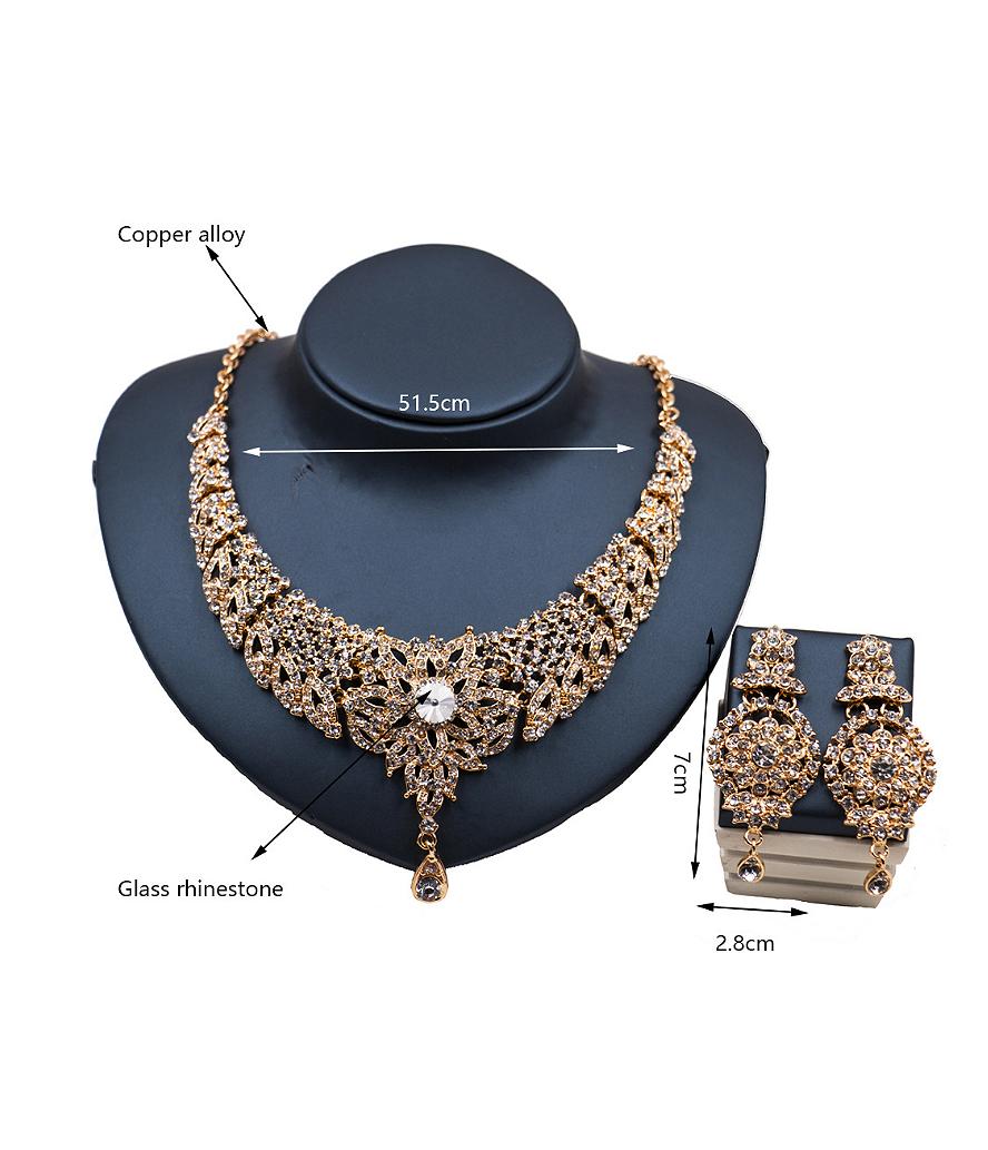 Elegant Glass Rhinestones Two Pieces Jewelry Set