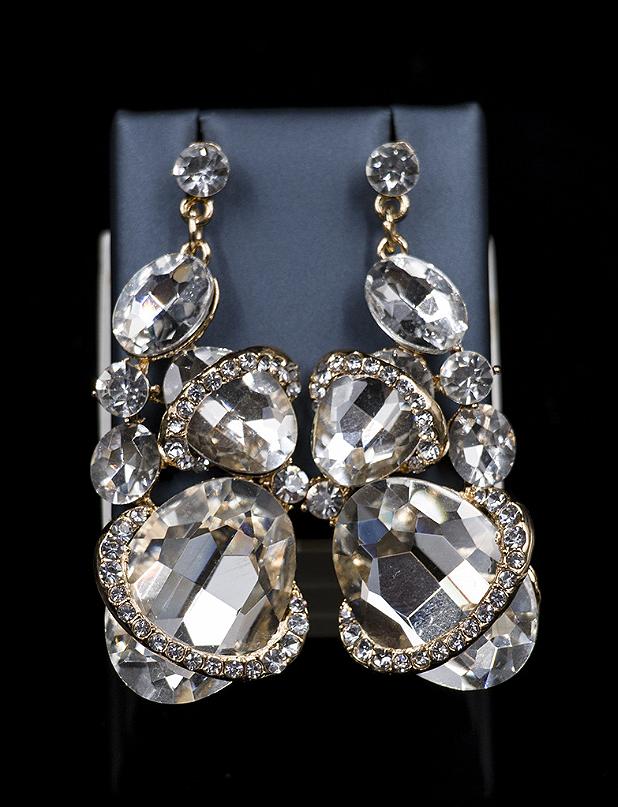 2018 Oval Glass Rhinestones Two Pieces Jewelry Set