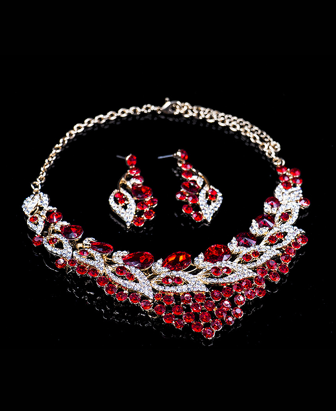 Fashion Leaves shaped Glass Rhinestones Two Pieces Jewelry Set