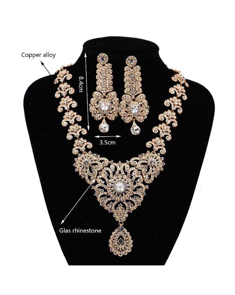 Retro Flower Glass Rhinestones Two Pieces Jewelry Set