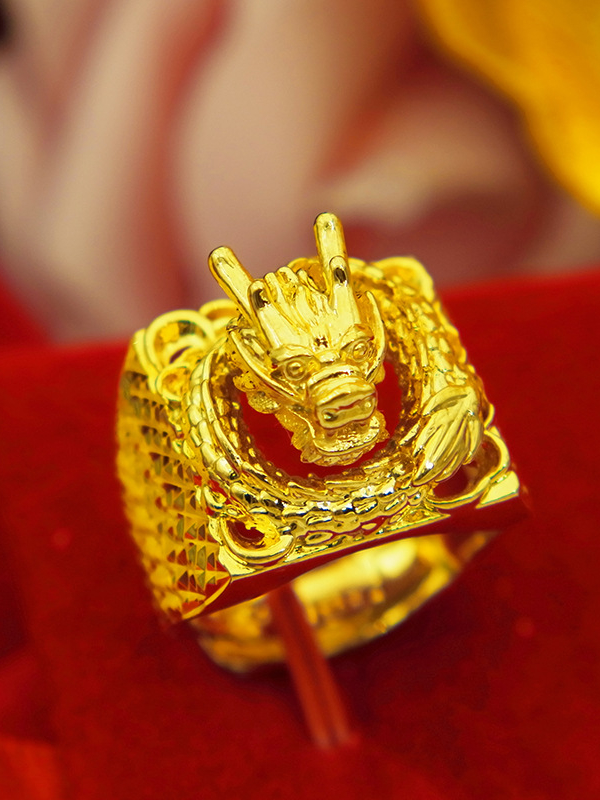 Men 24k Gold Plated Dragon Ring Tomade