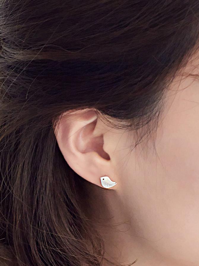 c01cbf098 Tiny Simple Bird 925 Sterling Silver Stud Earrings - ToMade