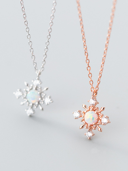 Christmas Jewelry.Christmas Jewelry Sterling Silver Zricon Snowflake Synthetic Opal Necklace