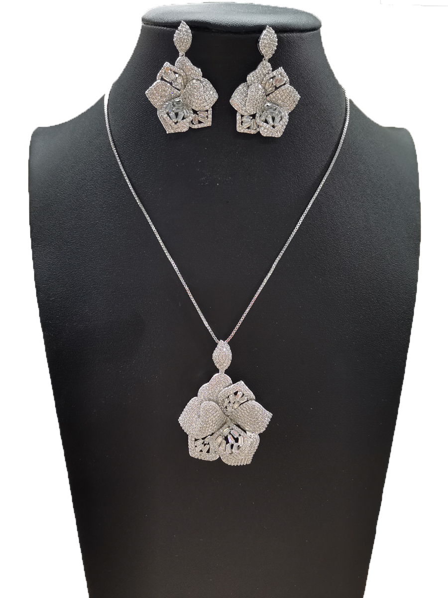 Gold Plated Enamel Flower Plant Cubic Zirconia Crystal 2 pieces Jewelry Set