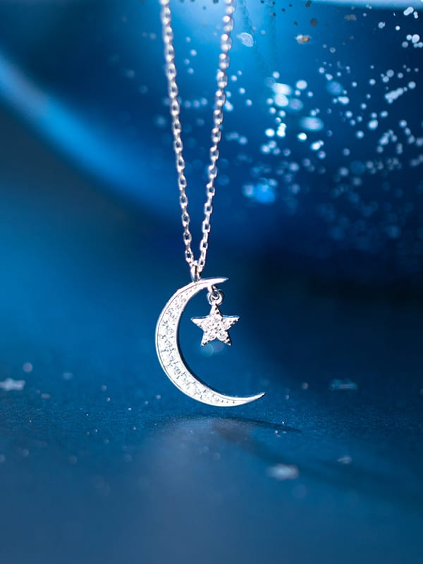 925 Silver Lovely Moon Cat Necklace Pendant Minimalist Chocker Necklace Jewelry