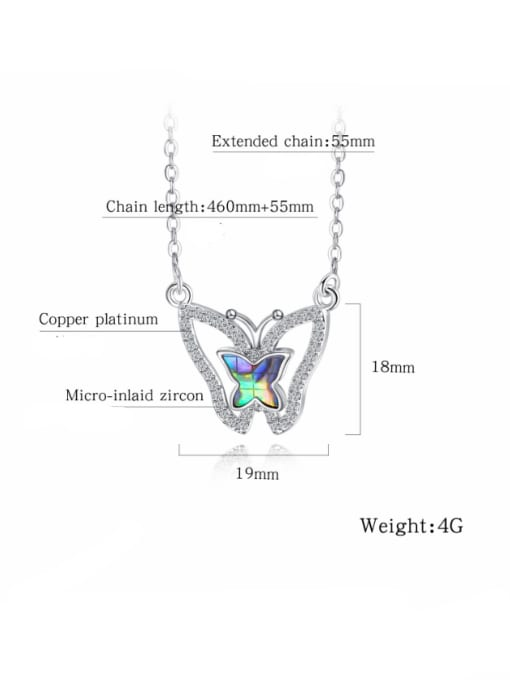Open Sky Copper With White Gold Plated Fashion Butterfly Necklaces 2