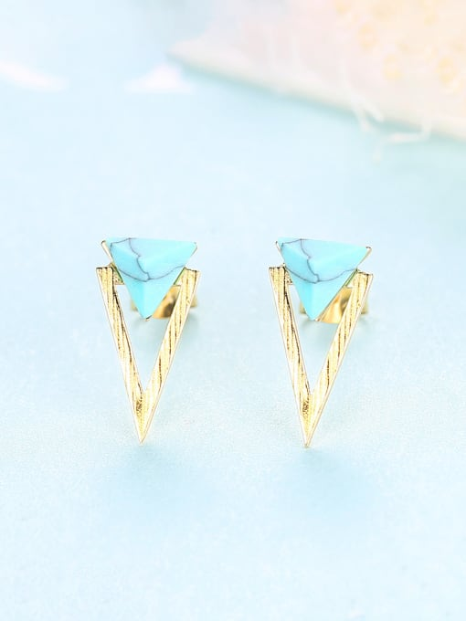 CCUI 925 Sterling Silver With Turquoise Simplistic Triangle Stud Earrings 2