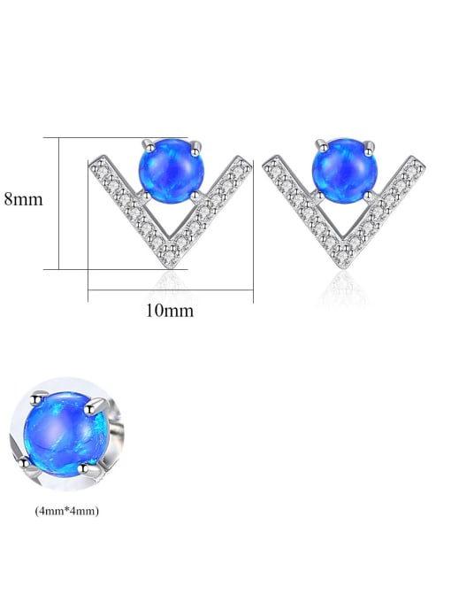 CCUI 925 Sterling Silver With Opal  Cute Triangle Stud Earrings 4