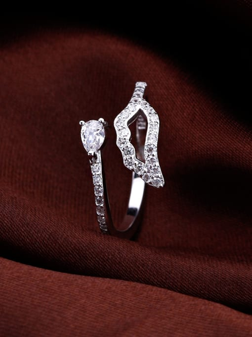 OUXI Simple Zircon Silver Opening Ring 2