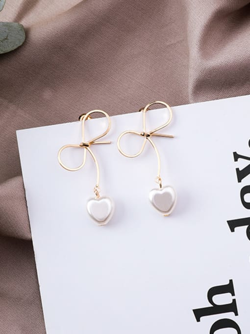C bow Alloy With Gold Plated Trendy Bowknot Imitation Pearl Drop Earrings