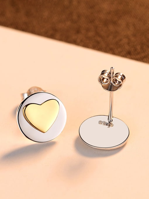 CCUI 925 Sterling Silver With Simple smooth  Heart-shaped Stud Earrings 3