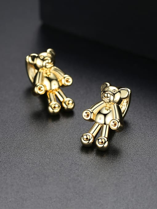 BLING SU Copper With 18k Gold Plated cute Animal bear Stud Earrings 0