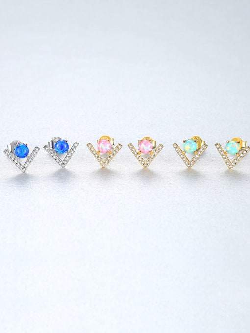 CCUI 925 Sterling Silver With Opal  Cute Triangle Stud Earrings 2