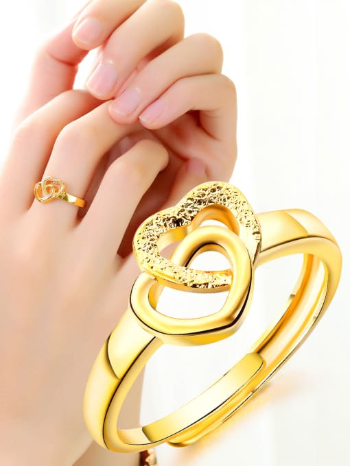 Open Sky Copper With 18k Gold Plated Fashion Heart Wedding Rings 1