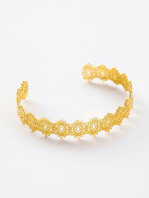 Gold Bracelet Alloy With Gold Plated Trendy Retro lace Ring Bracelet