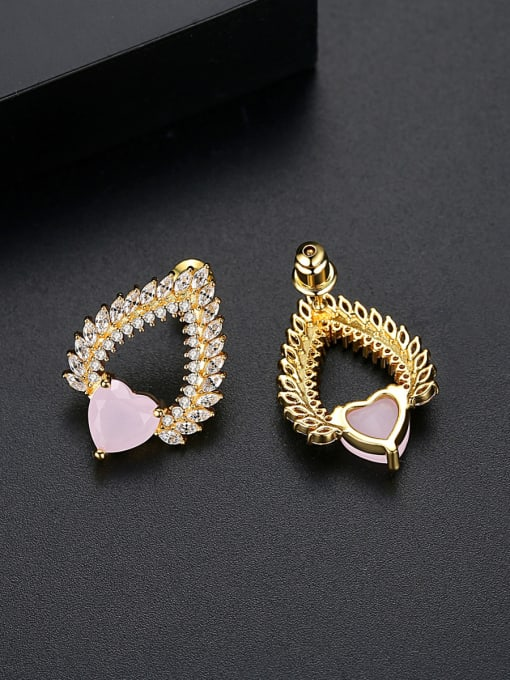 BLING SU Copper With 18k Gold Plated Trendy Heart Cluster Earrings 3