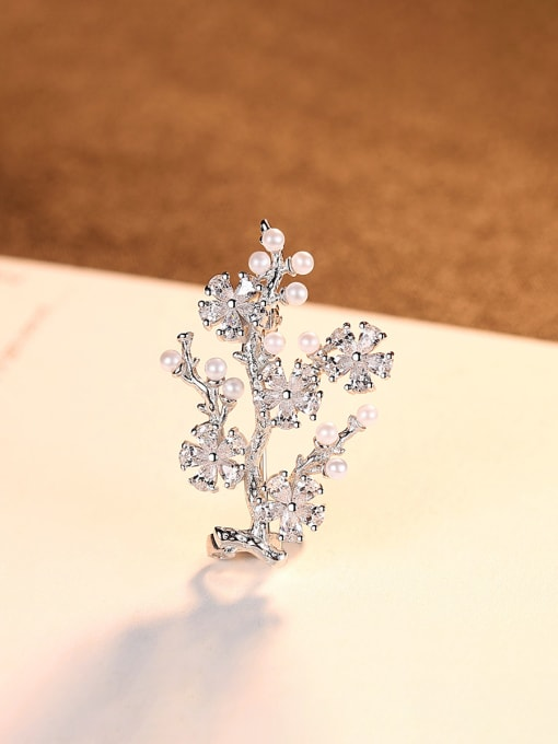 CCUI 925 Sterling Silver With Artificial Pearl  Cubic Zirconia Trendy Small tree Brooches 3