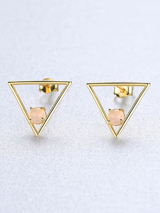 powder 925 Sterling Silver With Opal Simplistic Triangle Stud Earrings