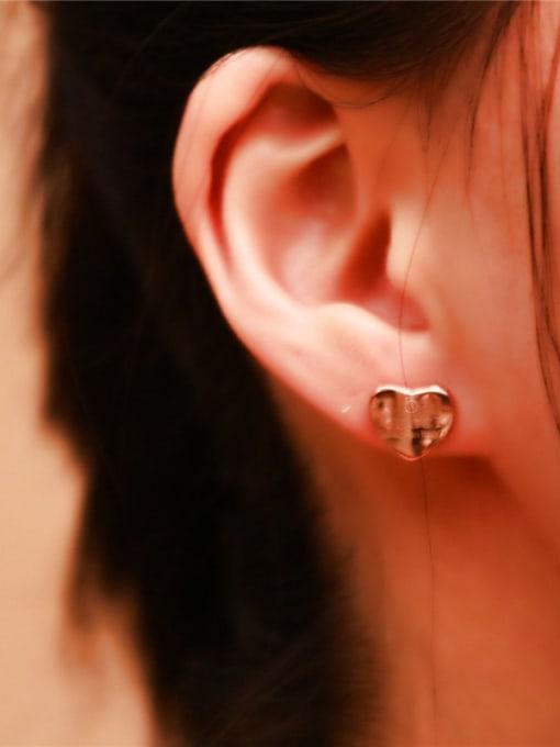 Rose Sweet Korean Heart -shape Stud Earrings 0