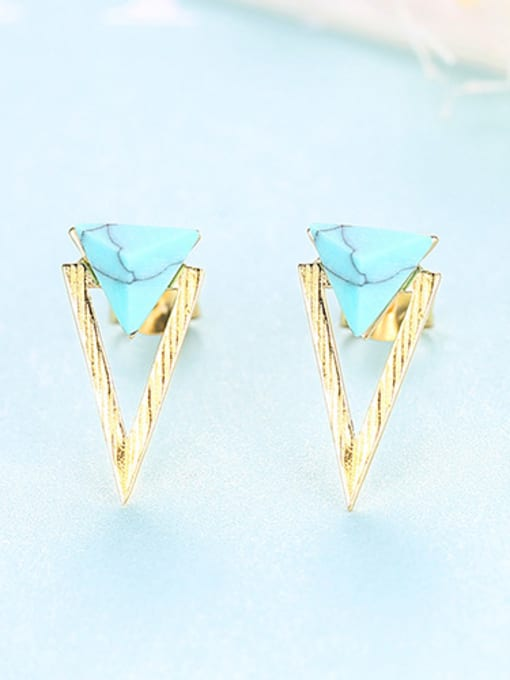 gold 925 Sterling Silver With Turquoise Simplistic Triangle Stud Earrings