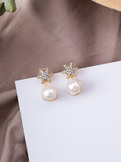B snowflake Alloy With Gold Plated Trendy Bowknot Imitation Pearl Drop Earrings
