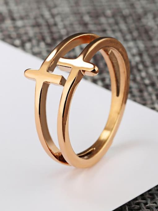 Open Sky Stainless Steel With Rose Gold Plated Fashion Cross Rings 2