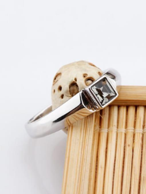 OUXI Fashion Black Zircon Silver Ring 1