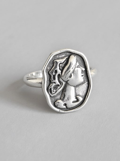 Dak Phoenix 925 Sterling Silver With Antique Silver Plated Vintage Face Rings