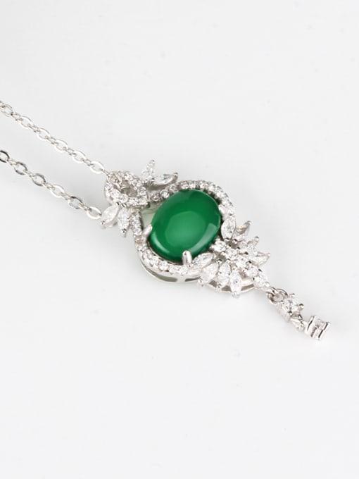 OUXI Fashion Green Stone Zircon Pendant 1