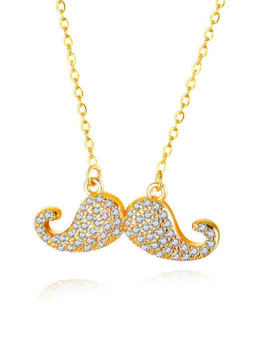 714-Gold Copper With 18k Gold Plated Personality beard Necklaces