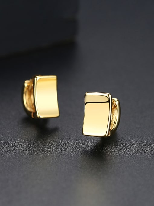 BLING SU Copper With Gold Plated Simplistic Geometric Stud Earrings