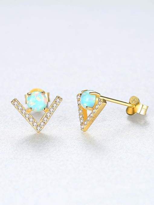 CCUI 925 Sterling Silver With Opal  Cute Triangle Stud Earrings 3