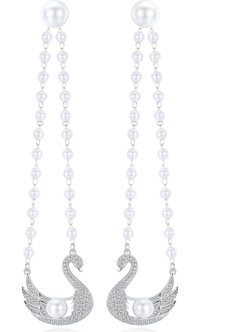 BLING SU Copper With White Gold Plated Fashion Swan Chandelier Earrings