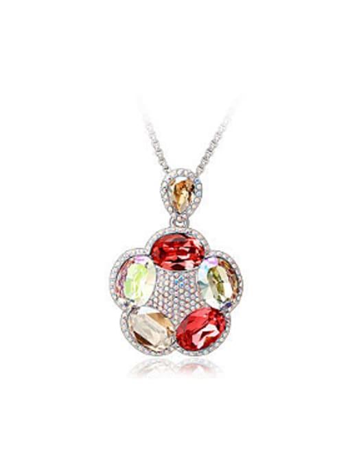 Yellow Fashion Swarovski Crystals Flowery Necklace