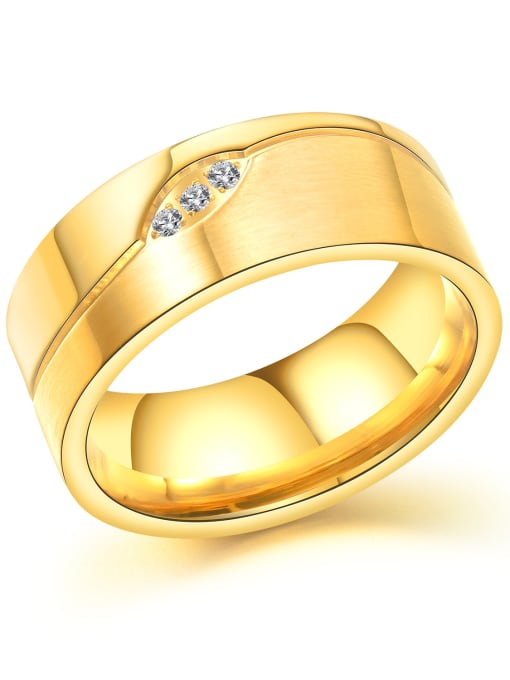 Open Sky Stainless Steel With Gold Plated Classic Geometric Wedding Rings 0