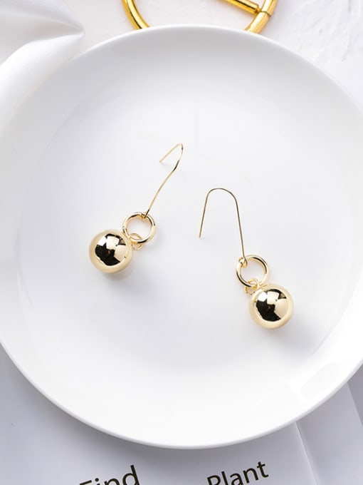Girlhood Alloy With Gold Plated Casual Ball Drop Earrings 1