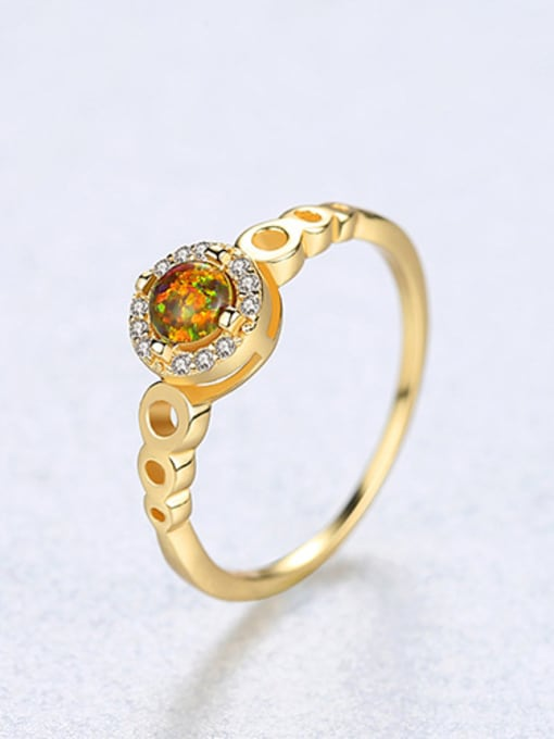 brown 925 Sterling Silver With Opal  Simplistic Round Band Rings