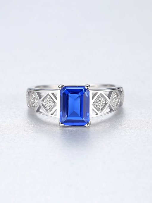 CCUI 925 Sterling Silver With Glass stone Simplistic Square Band Rings 3