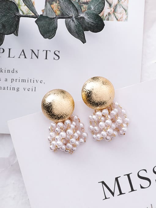 Girlhood Alloy With Gold Plated Fashion Imitation pearls Charm Stud Earrings 1